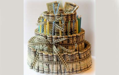 Bánh kem tiền đô chúc mừng sinh nhật đẹp lung linh