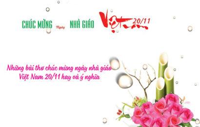 Những bài thơ chúc mừng ngày nhà giáo Việt Nam 20/11 hay và ý nghĩa