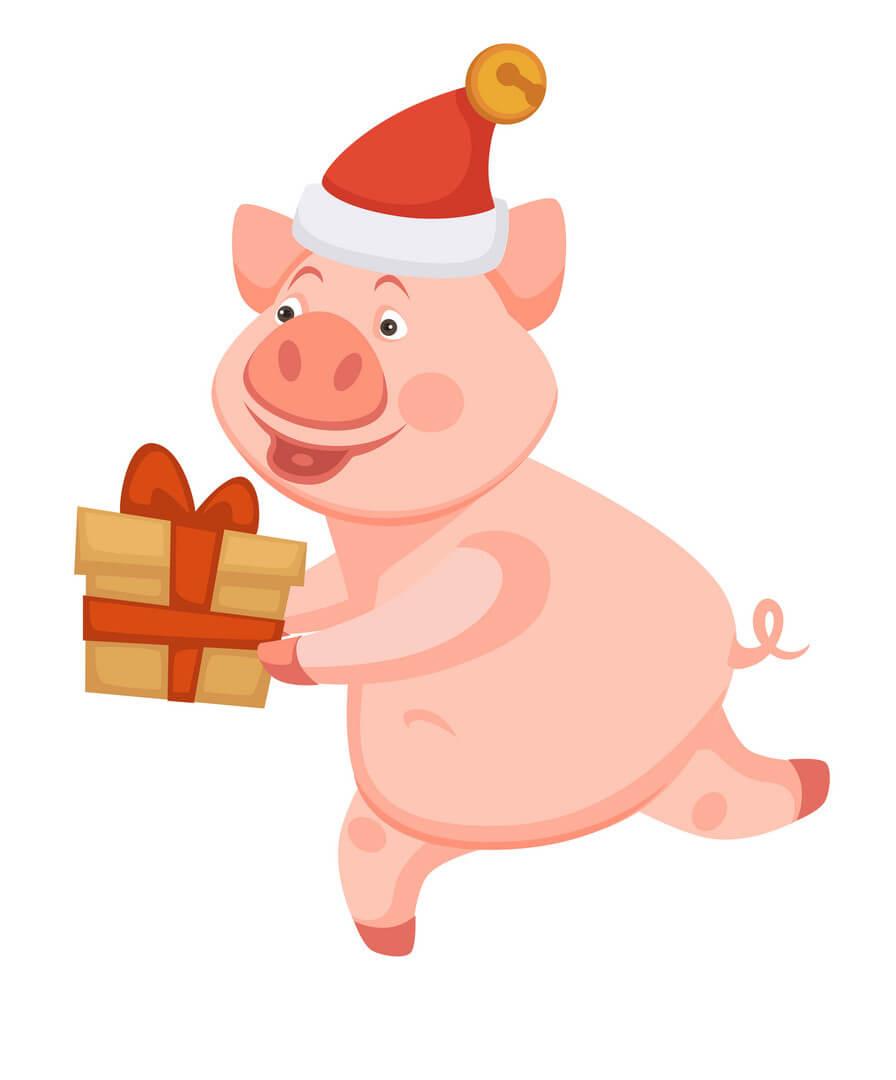 Thiệp chú lợn vui nhộn chào đón năm mới 2019 kỷ hợi đẹp