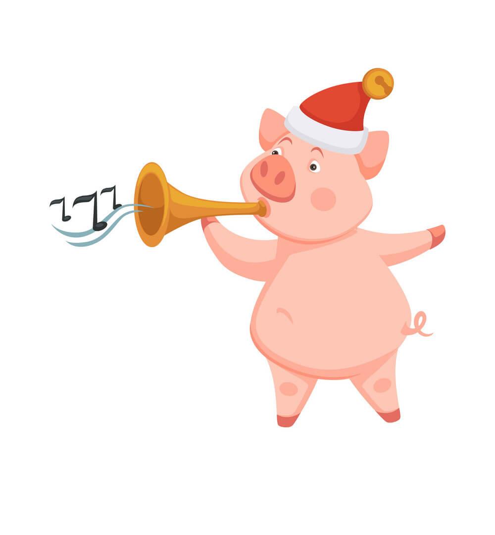 Hình nền chú lợn vui nhộn chào đón năm mới 2019 kỷ hợi đẹp