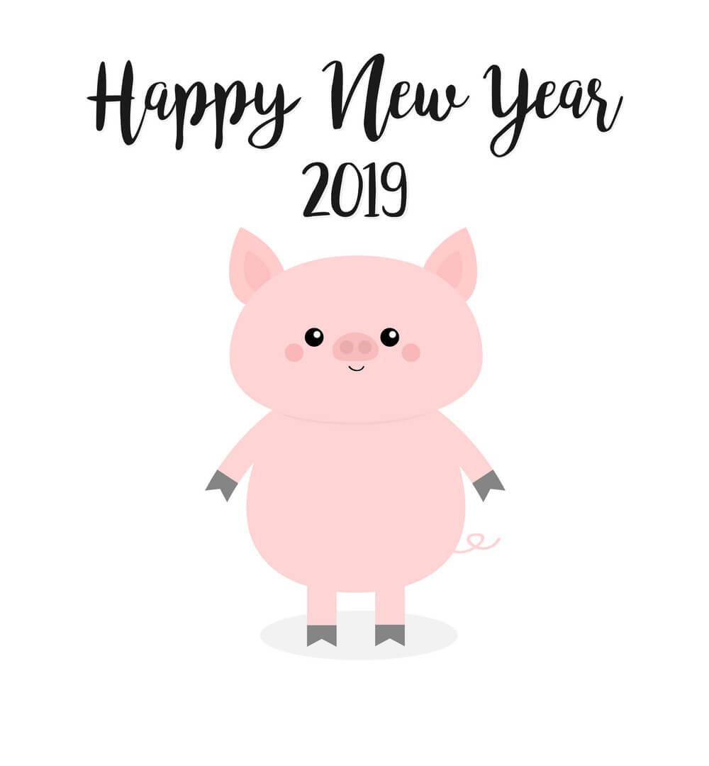 Hình ảnh chú lợn Happy New Year 2019