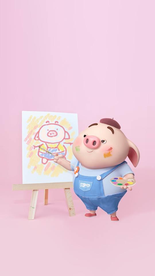 Hình nền chú lợn con ủn ỉn độc đáo và dễ thương cho smartphone Android số 36