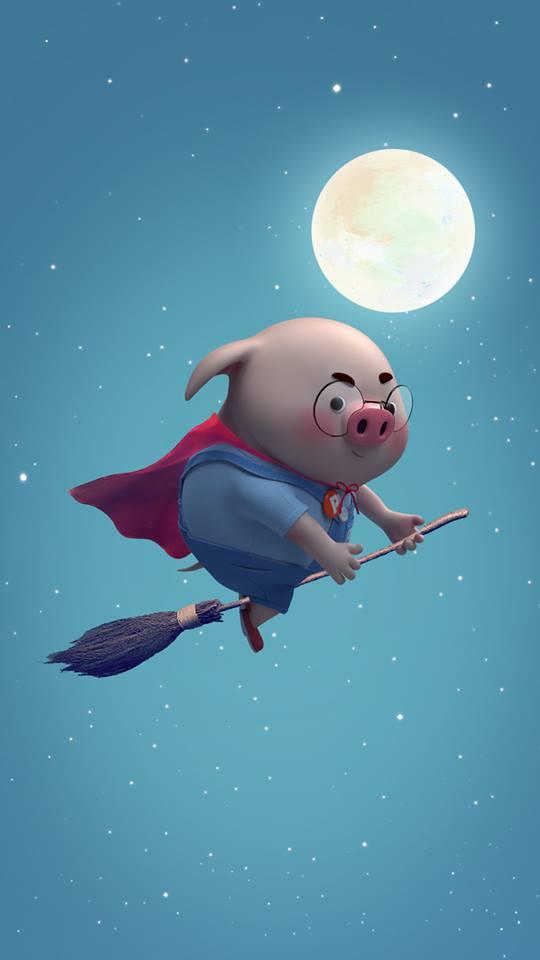 Hình nền chú lợn ủn ỉn hài hước vui nhộn cho điện thoại Iphone đẹp số 11