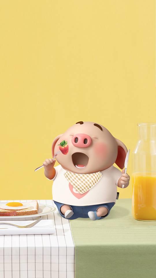 Hình nền chú lợn ủn ỉn hài hước vui nhộn cho điện thoại Iphone đẹp số 23