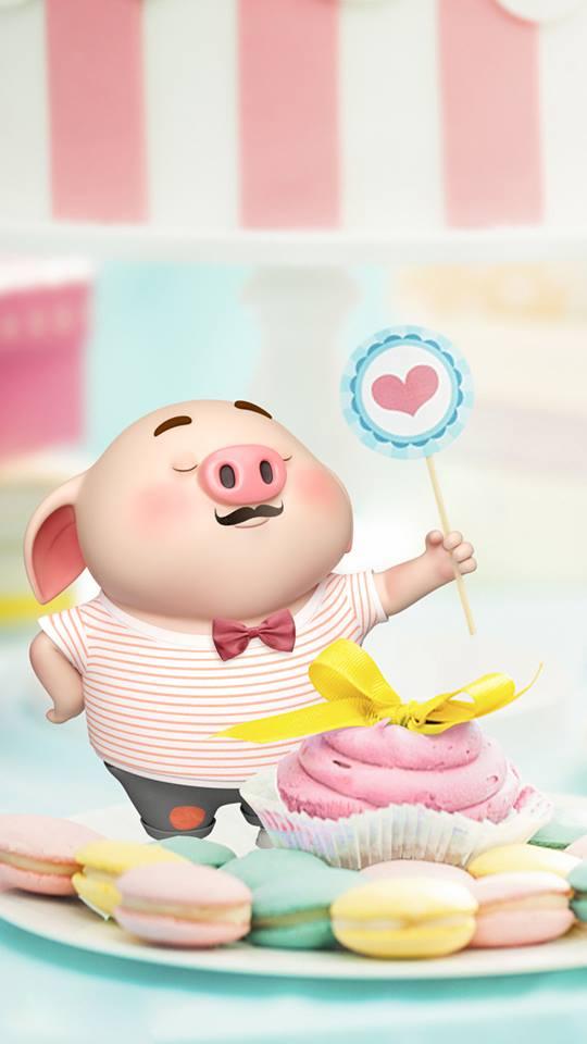Hình nền hoạt hình lợn con ủn ỉn tâm trạng cho điện thoại đẹp số 1