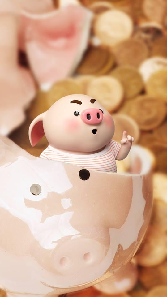 Hình nền hoạt hình lợn con ủn ỉn tâm trạng cho điện thoại đẹp số 5