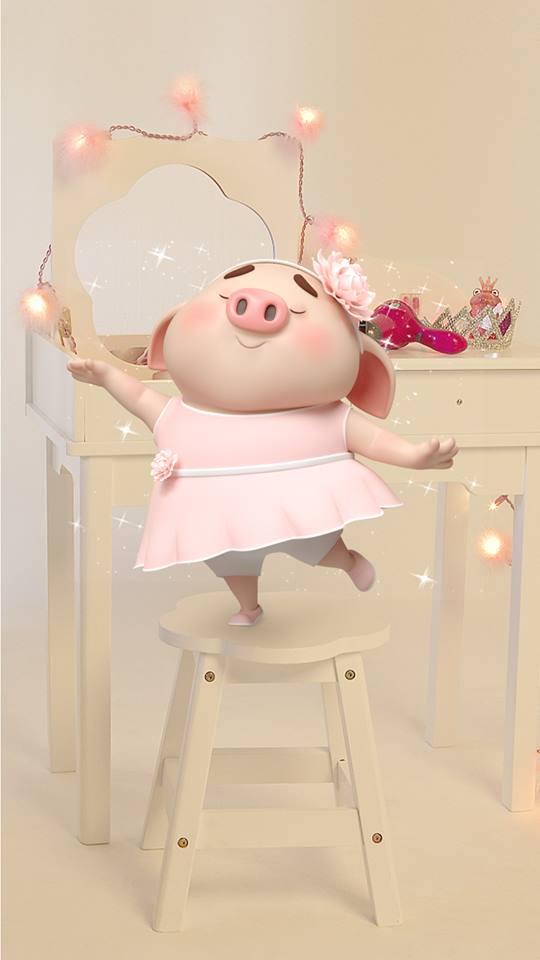 Hình nền hoạt hình lợn con ủn ỉn tâm trạng cho điện thoại đẹp số 3