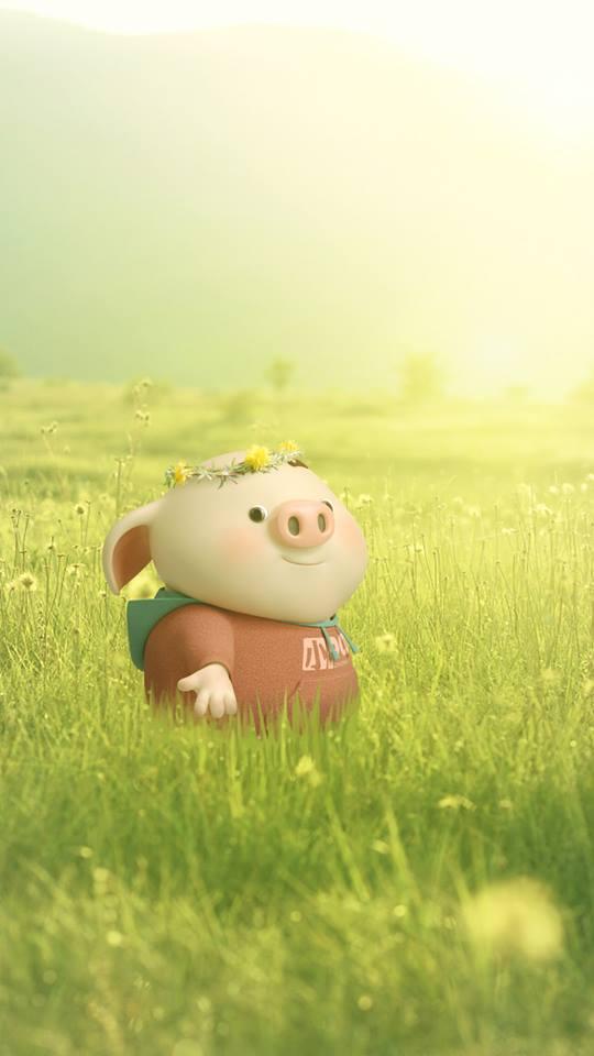 Hình nền hoạt hình lợn con ủn ỉn tâm trạng cho điện thoại đẹp số 8