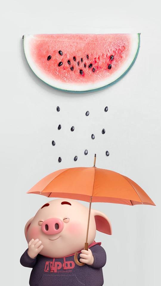 Hình nền hoạt hình lợn con ủn ỉn tâm trạng cho điện thoại đẹp số 9