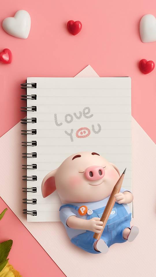 Hình nền hoạt hình lợn con ủn ỉn tâm trạng cho điện thoại đẹp số 12