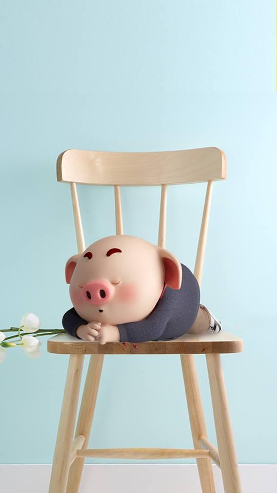 Hình nền hoạt hình lợn con ủn ỉn tâm trạng cho điện thoại đẹp số 11