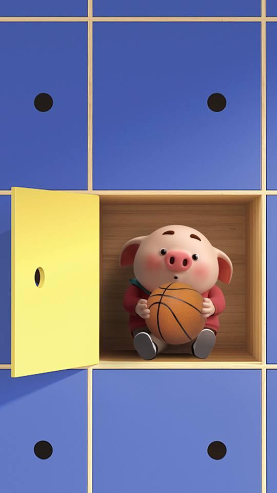 Hình nền hoạt hình lợn con ủn ỉn tâm trạng cho điện thoại đẹp số 14