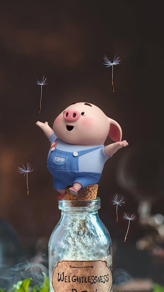 Hình nền hoạt hình lợn con ủn ỉn tâm trạng cho điện thoại đẹp số 18