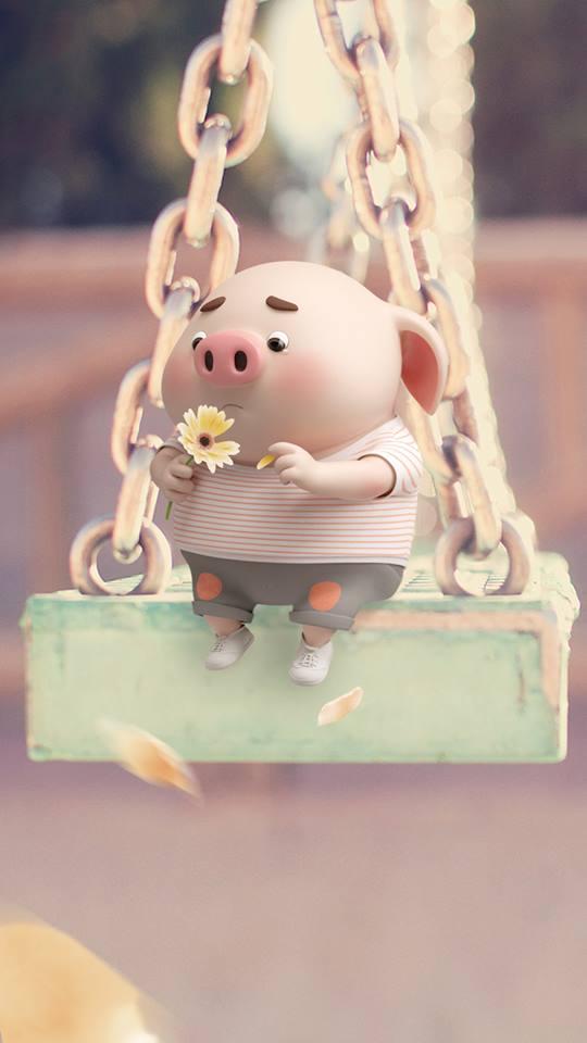 Hình nền hoạt hình lợn con ủn ỉn tâm trạng cho điện thoại đẹp số 17
