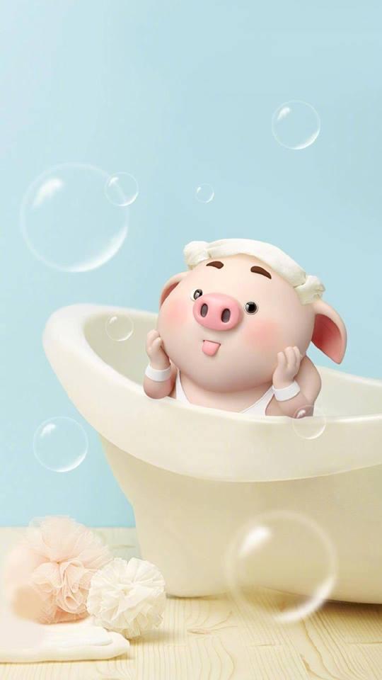 Hình nền hoạt hình lợn con ủn ỉn tâm trạng cho điện thoại đẹp số 16