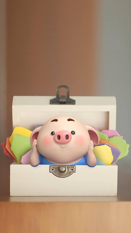 Hình nền hoạt hình lợn con ủn ỉn tâm trạng cho điện thoại đẹp số 34