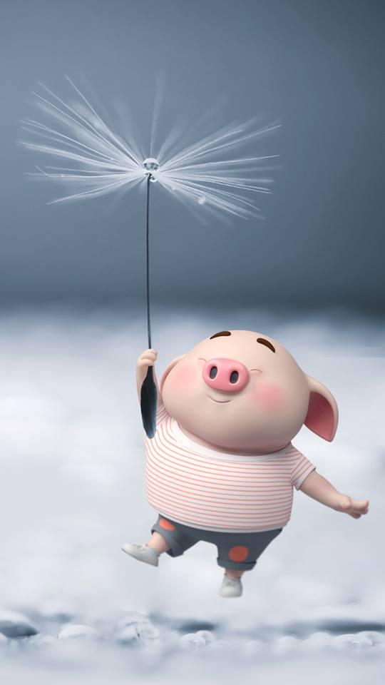 Hình nền chú lợn con ủn ỉn độc đáo và dễ thương cho smartphone Android số 9