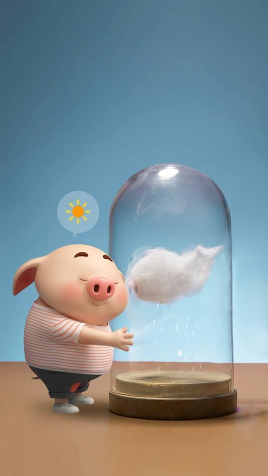 Hình nền chú lợn con ủn ỉn độc đáo và dễ thương cho smartphone Android số 12