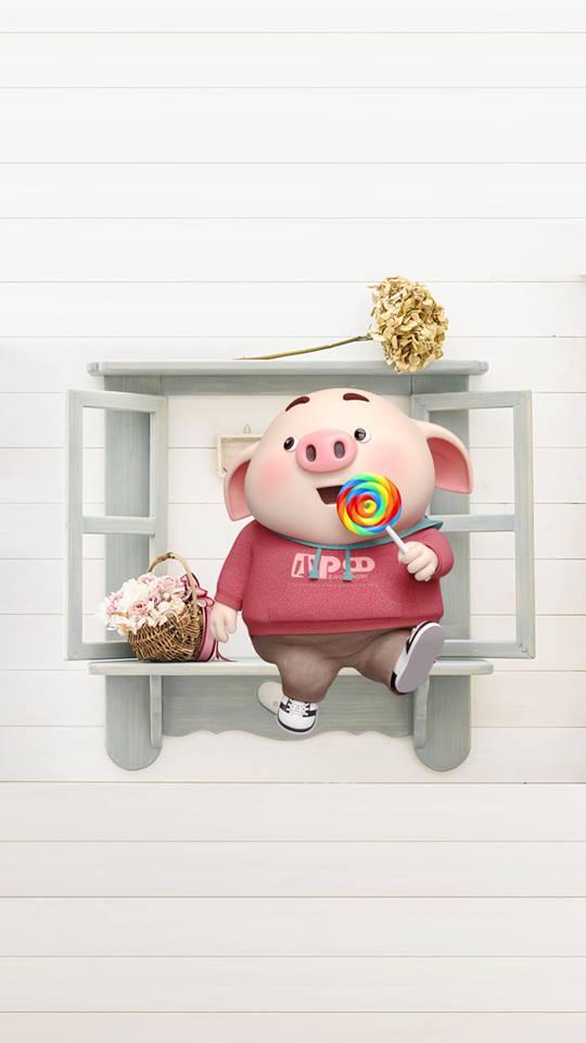 Hình nền chú lợn con ủn ỉn độc đáo và dễ thương cho smartphone Android số 16