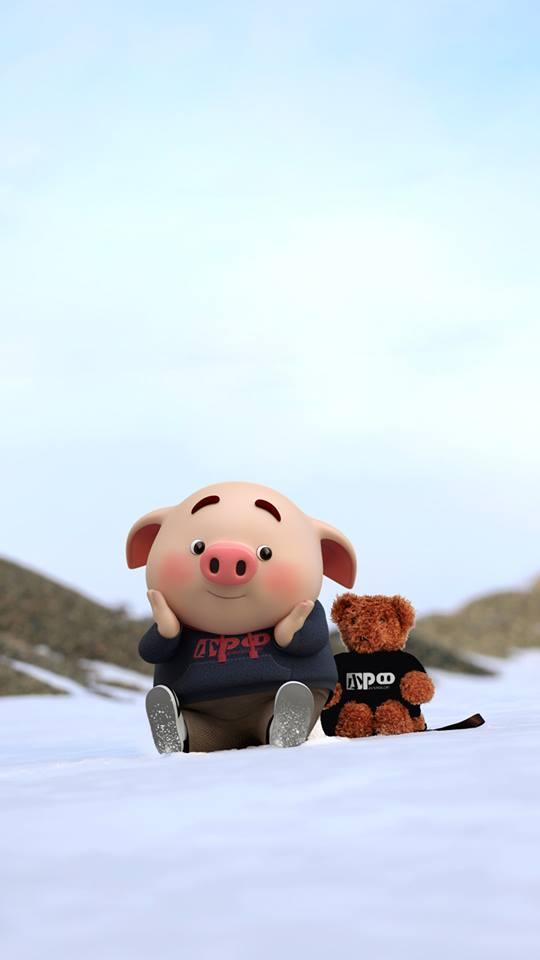 Hình nền chú lợn con ủn ỉn độc đáo và dễ thương cho smartphone Android số 30
