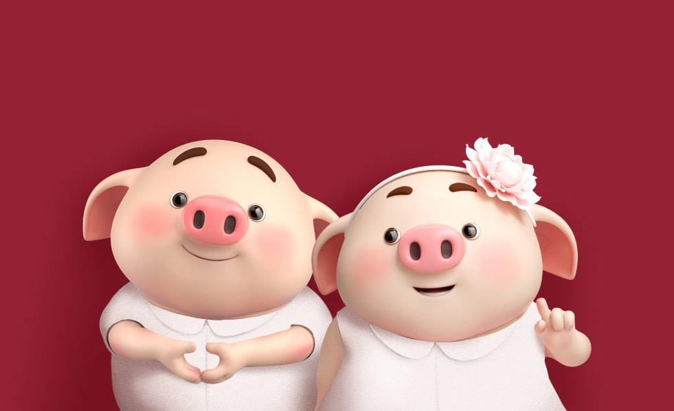 Hình nền chú lợn ủn ỉn vui nhộn năm 2019 cho máy tính full hd số 2