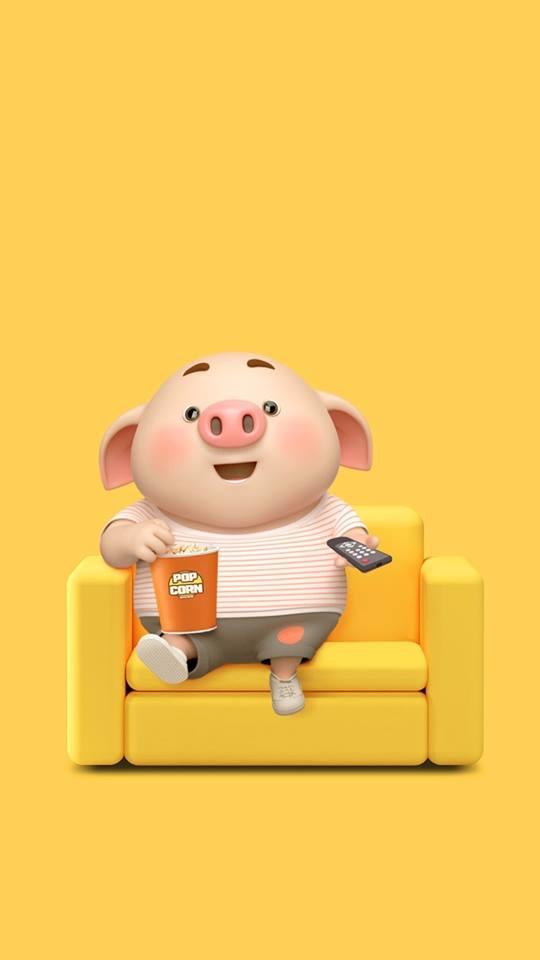 Hình nền con lợn hồng ủn ỉn tý hon tinh nghịch dễ thương số 11