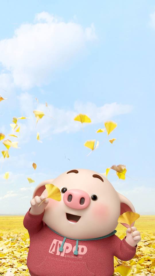 Hình nền con lợn hồng ủn ỉn tý hon tinh nghịch dễ thương số 14