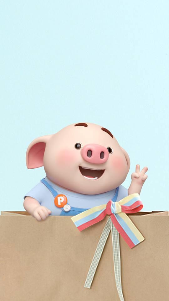 Hình nền con lợn hồng ủn ỉn tý hon tinh nghịch dễ thương số 15
