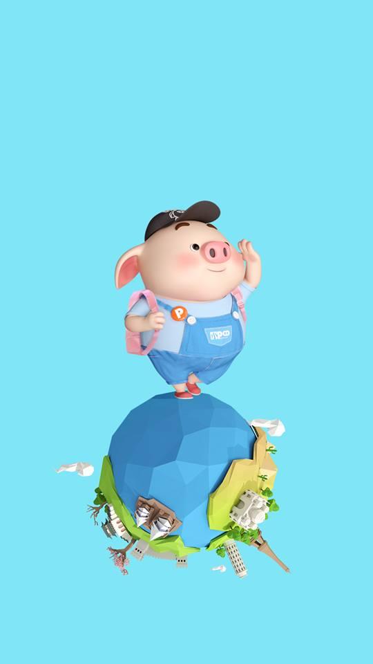 Hình nền con lợn hồng ủn ỉn tý hon tinh nghịch dễ thương số 16