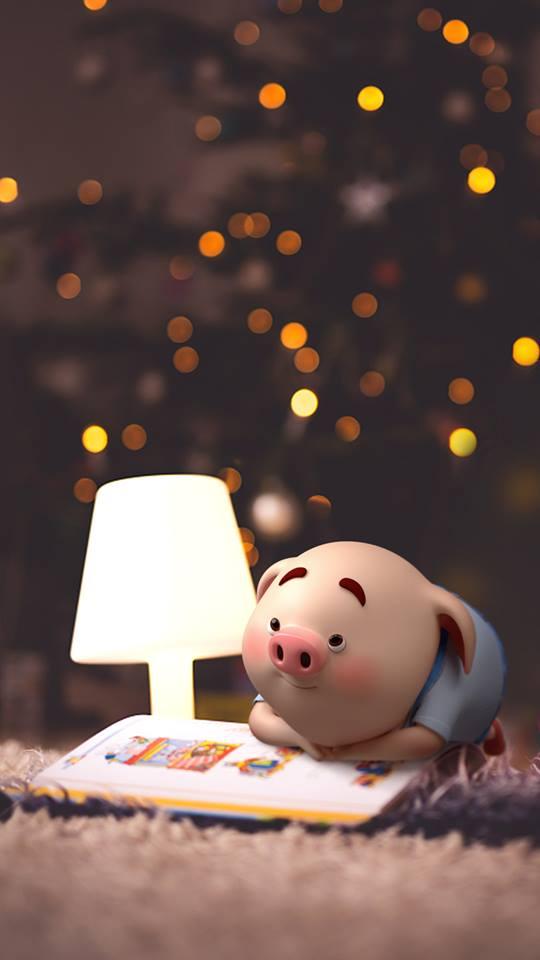 Hình nền con lợn hồng ủn ỉn tý hon tinh nghịch dễ thương số 17