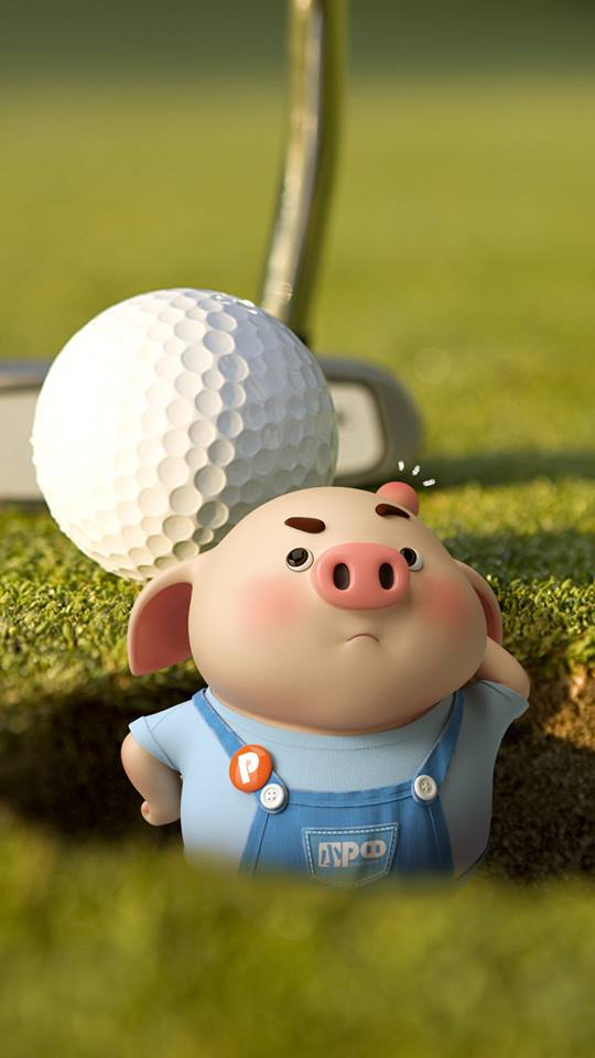 Hình nền con lợn hồng ủn ỉn tý hon tinh nghịch dễ thương số 18