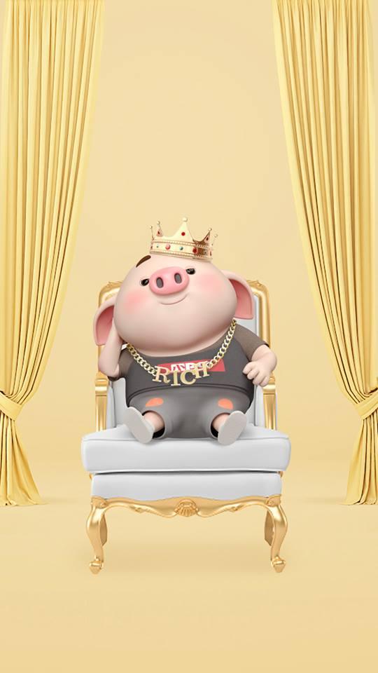 Hình nền con lợn hồng ủn ỉn tý hon tinh nghịch dễ thương số 21