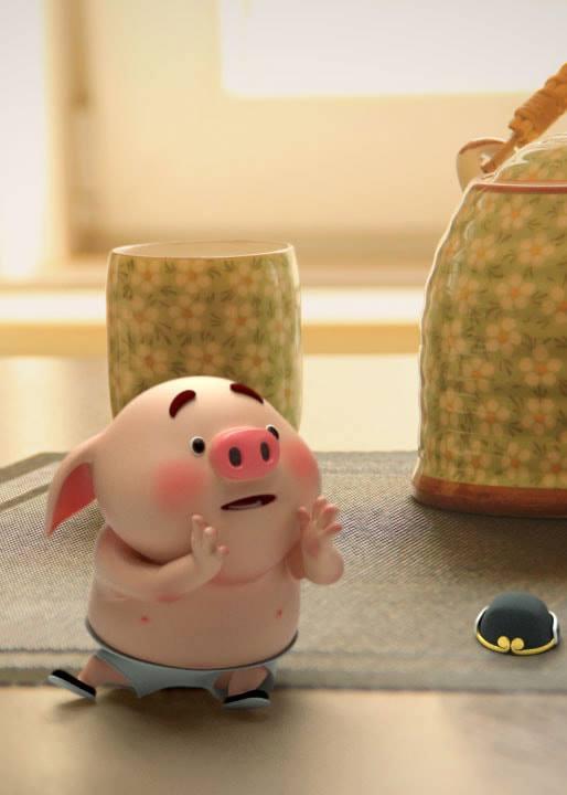 Hình nền con lợn hồng ủn ỉn tý hon tinh nghịch dễ thương số 22