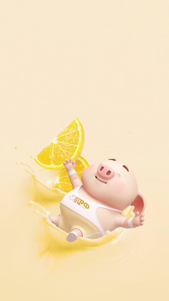 Hình nền con lợn hồng ủn ỉn tý hon tinh nghịch dễ thương số 23