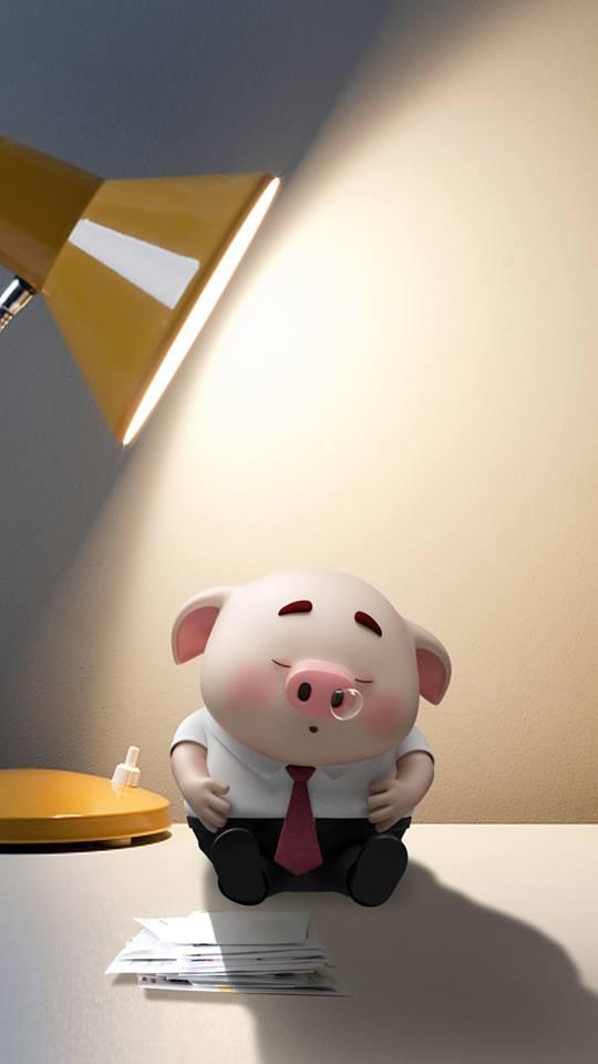 Hình nền con lợn hồng ủn ỉn tý hon tinh nghịch dễ thương số 24