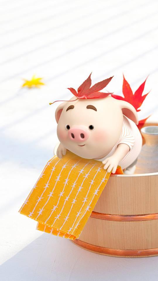 Hình nền con lợn hồng ủn ỉn tý hon tinh nghịch dễ thương số 25
