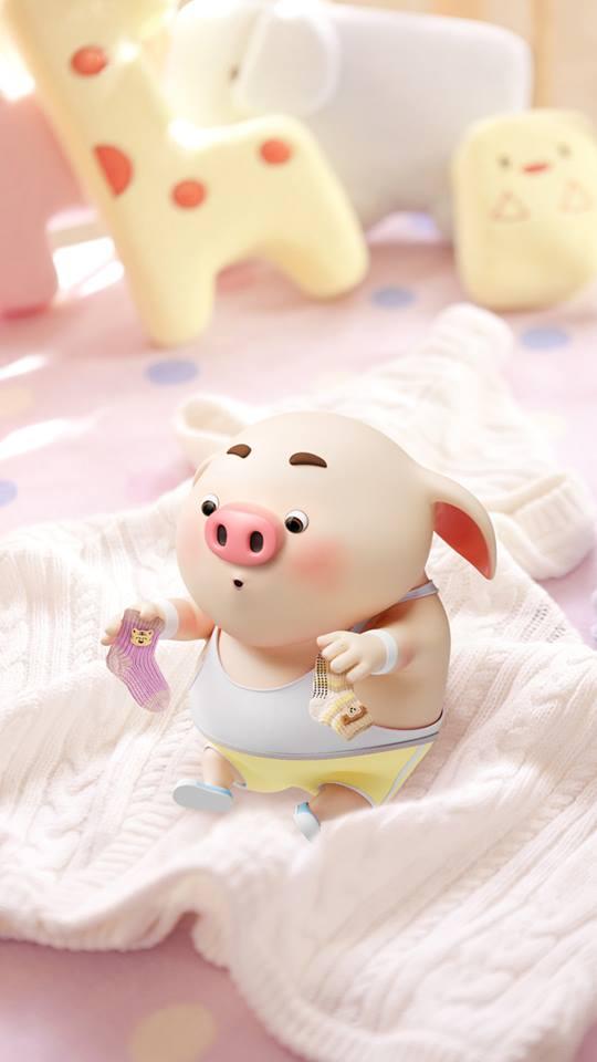 Hình nền con lợn hồng ủn ỉn tý hon tinh nghịch dễ thương số 29