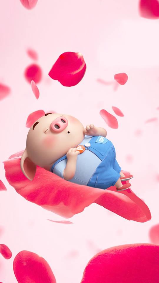Hình nền con lợn hồng ủn ỉn tý hon tinh nghịch dễ thương số 4