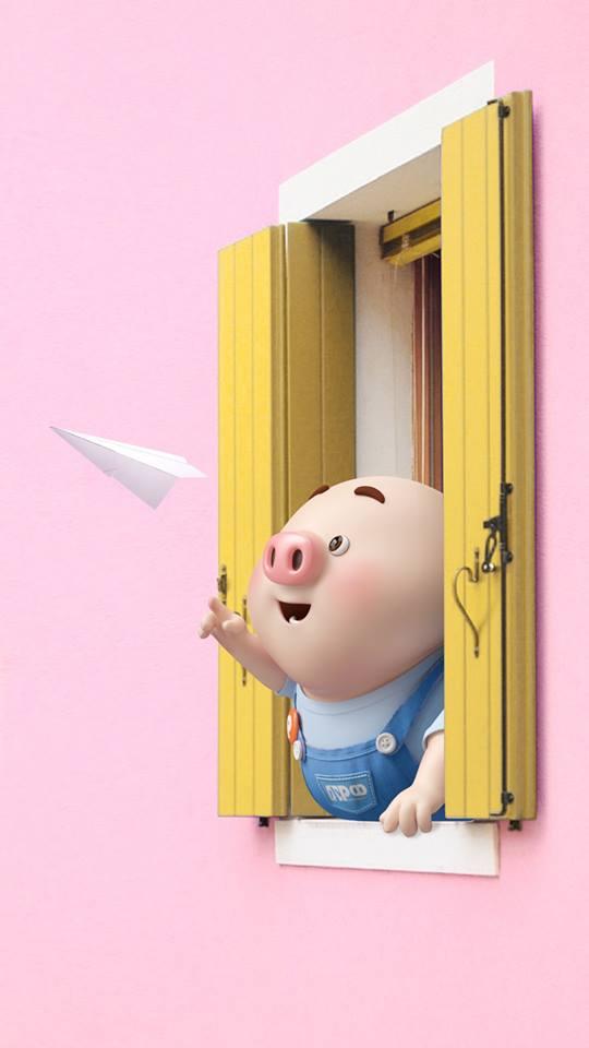 Hình nền con lợn hồng ủn ỉn tý hon tinh nghịch dễ thương số 31