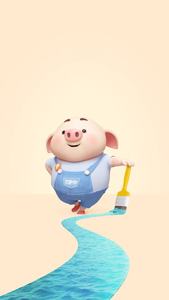 Hình nền con lợn hồng ủn ỉn tý hon tinh nghịch dễ thương số 34