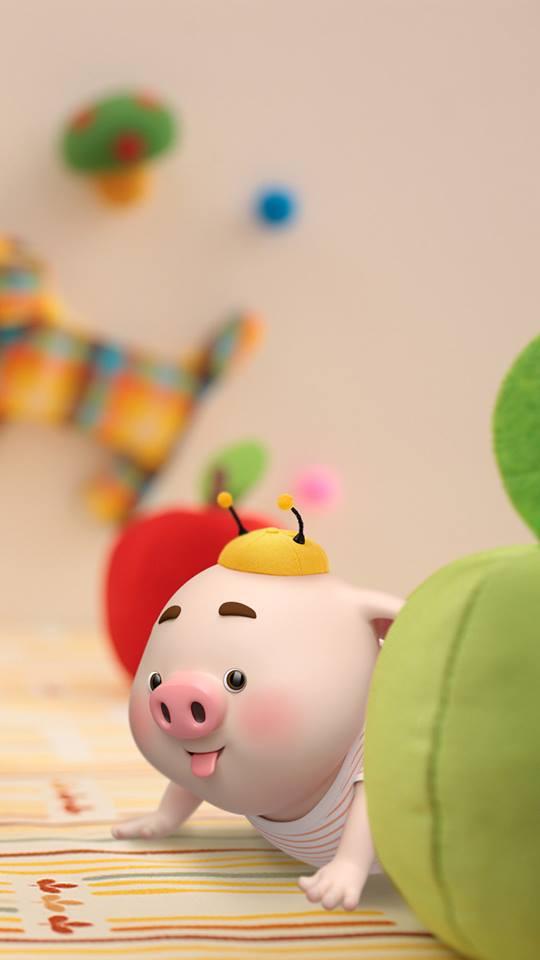 Hình nền con lợn hồng ủn ỉn tý hon tinh nghịch dễ thương số 5