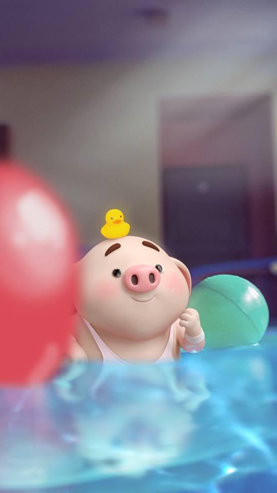 Hình nền con lợn hồng ủn ỉn tý hon tinh nghịch dễ thương số 6