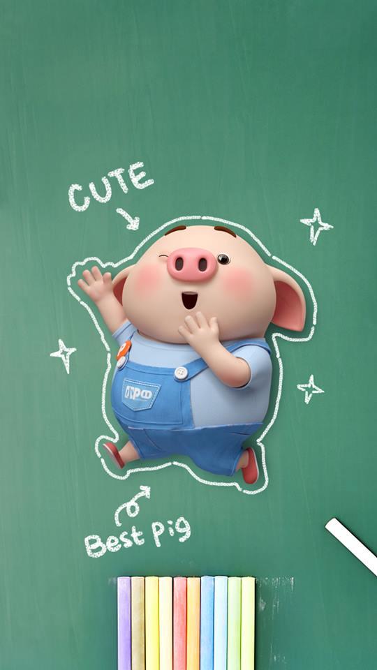 Hình nền con lợn hồng ủn ỉn tinh nghịch cho điện thoại full hd số 18