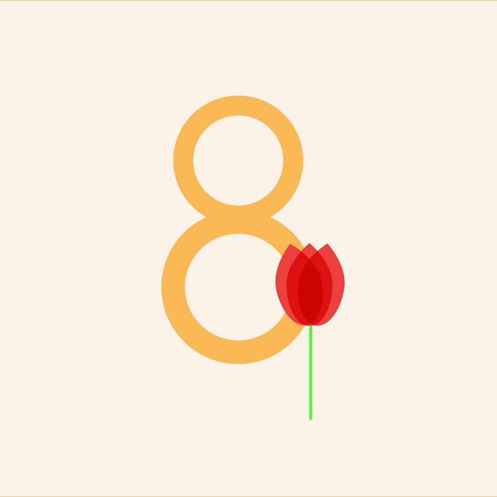 Bức thiệp hoa chúc mừng ngày quốc tế phụ nữ 8/3 đẹp số 17