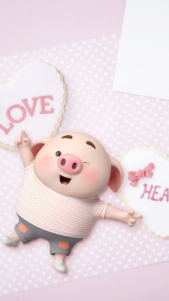 Hình nền chú lợn hồng ủn ỉn trong ngày lễ tình yêu Valentine 14/2 số 3