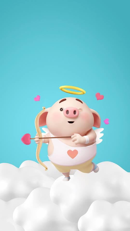 Hình nền chú lợn hồng ủn ỉn trong ngày lễ tình yêu Valentine 14/2 số 6