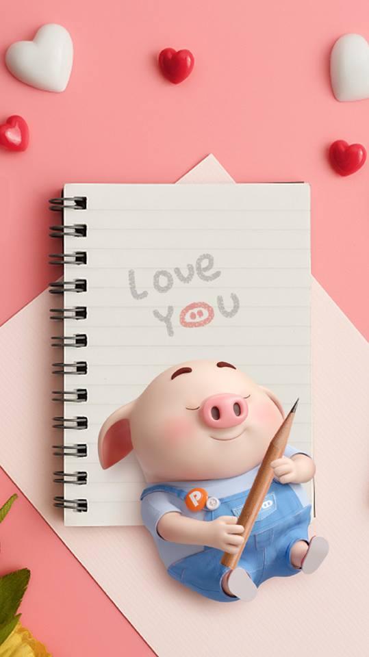 Hình nền chú lợn hồng ủn ỉn trong ngày lễ tình yêu Valentine 14/2 số 7