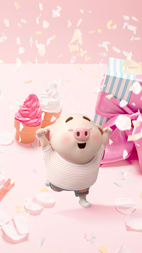 hình ảnh và hình nền chú lợn hồng chibi chúc mừng sinh nhật dễ thương số 11