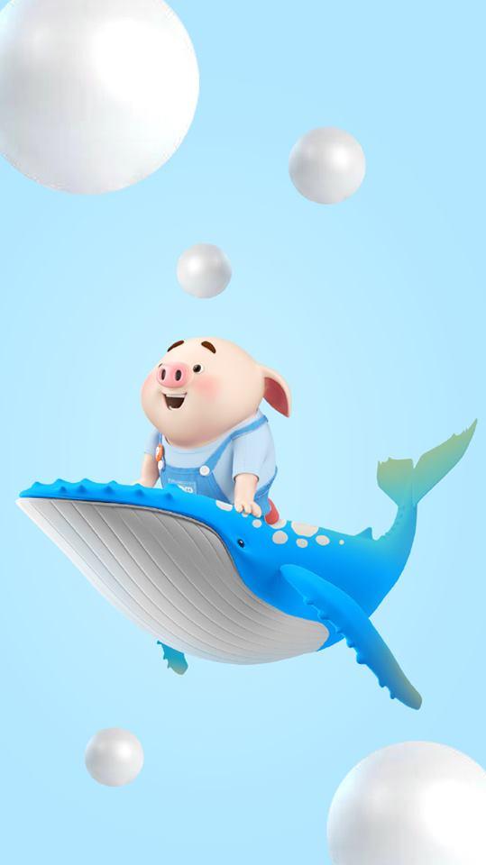 những hình nền chú lợn hồng chibi đi du lịch biển hài hước số 9