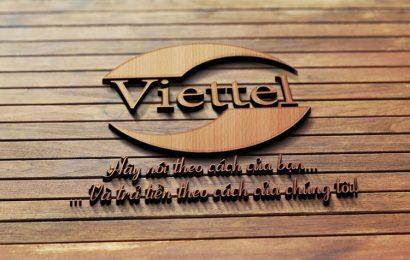 Chia sẻ PSD Mockup Logo Viettel gỗ hãy nói theo cách của bạn